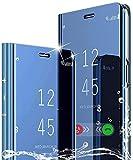 SOUFU per Realme GT 5G Cover-Luxury Placcatura Specchio Flip Cover,Trasparente Clear View Standing Antiurto Protettiva Custodia per Realme GT 5G-blu