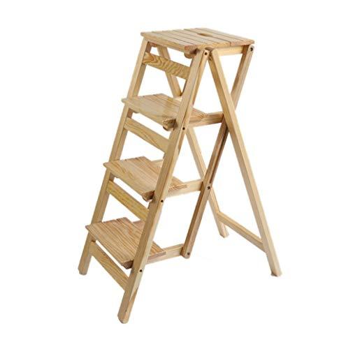 MFWallMirror trap stapelbare trap van massief hout voor ladders van boeken, multifunctioneel hout, keuken met 4 stappen, 150 kg capaciteit