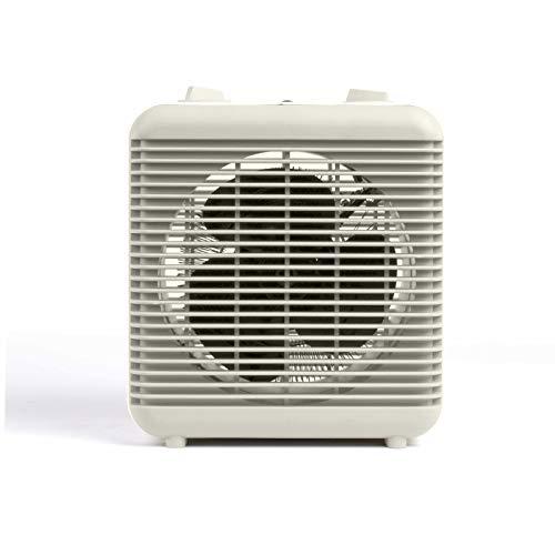 Kleine ventilatorkachel badkamer badkamer energiebesparend en ventilator kleine 2000 Watt 2 warmtestanden (mobiele elektrische verwarming, thermostaat, draaggreep, oververhittingsbeveiliging, wit)