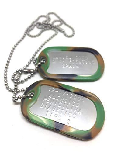 TusPlacas Chapas Militares Personalizadas de Acero INOX. Collar de Chapas Grabadas en Relieve. Colgante Estilo Ejército Americano. Grabado, Cadenas, Gomas y Bolsita de Tela de Regalo.