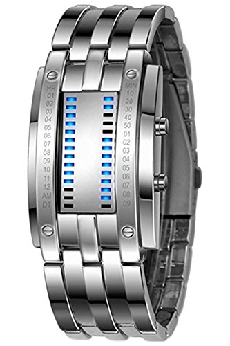 SODIAL Orologio da polso con LED digitale a forma di lega da uomo (blu LED / bracciale in argento)