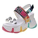 DZQQ 2020 Nuevas Sandalias de cuña de Verano para Mujer, Zapatos de Plataforma Gruesos de Cristal de PVC Transparente, Sandalias de Fondo Grueso con arcoíris para Mujer