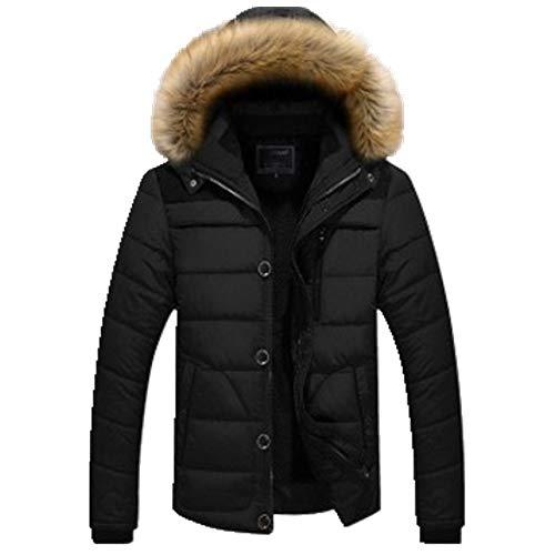 Abrigo de lana con capucha para hombre con cuello de felpa de algodón acolchado