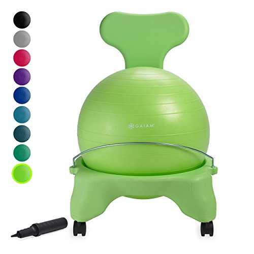 Gaiam Classic Balance Ball Chair – Exercise Stability Yoga Ball Premium Ergonomic Chair for Home and Office Desk with Air Pump, Exercise Guide and Satisfaction Guarantee, Wasabi