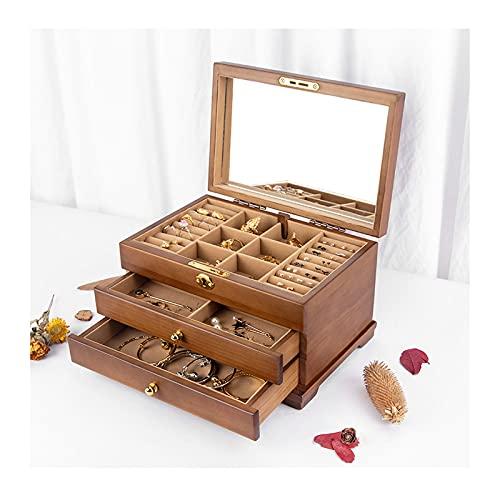 WPJ 3 Capas Organizador de Caja de joyería para Mujer Reloj de Almacenamiento Organizador de joyería de Almacenamiento Mostrar Caja Regalo para Pendientes, Anillos, Collares (Color : B)
