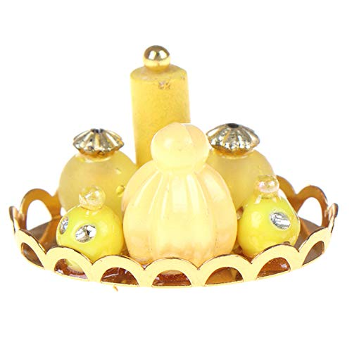 Ruby569y Accesorios de casa de muñecas para bricolaje, mini simulación accesorios decorativos Metal escala 1/12 muñeca casa perfume placa para accesorios de fotos - amarillo