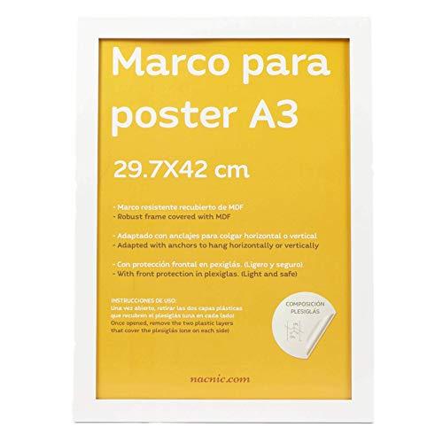 Nacnic Marco Blanco para Fotos, Posters, láminas, Diplomas. Tamaño(A3-29.7x42 cm).Robusto de MDF y Frontal de plexiglas.Marco Blanco para Colgar