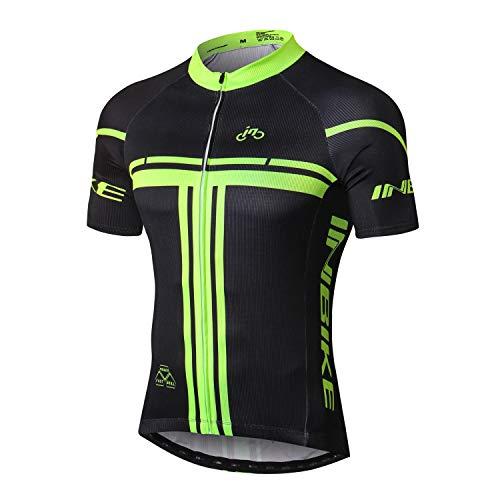 INBIKE Kurzarm Radtrikot Herren Damen Fahrradtrikot Shirts Jersey Elastische Atmungsaktive Schnell Trocknen Stoff Funktionsshirt für Radsport Outdoor Sport (Schwarz&Grün L)