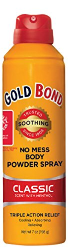 Gold Bond No Mess Spray Powder, Classic Scent with Menthol, 7 Ounce, Moisture Absorbing, Itch Relieving, and Cooling Action of Gold Bond Powder in a Mess-Free Spray