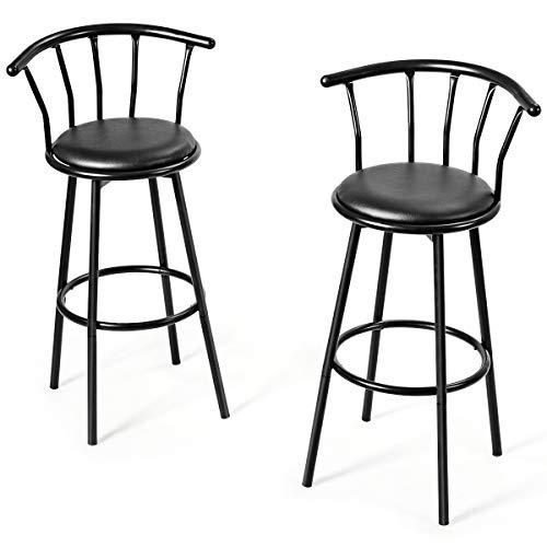 Giantex 2X Barhocker, Runder Barstuhl, Sitzfläche 360 Grad drehbar, Tresenhocker Bistrohocker mit Fußstütze & Rücklehne, Schaumstoff gepolstert für Bars, Restaurants, Cafés, schwarz