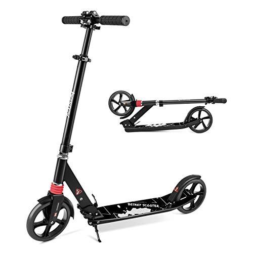 キックボード キックスクーター 4段階にて調整 折り畳み式/足踏み式ブレーキ 持ち運び便利なベルト付き 機能充実 子供/大人用 (黒色) Besrey