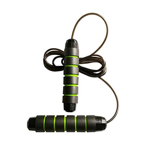 Cuerda de saltar con mango antideslizante, longitud ajustable, rodamiento de peso, cuerda de saltar, adecuada para deportes de interior y exterior y fitness de niños y adultos, color verde
