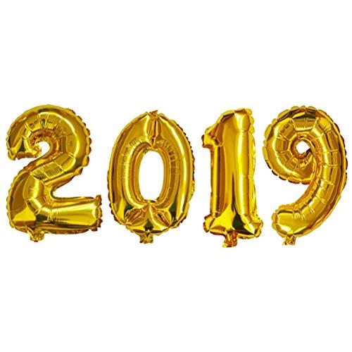 STOBOK Folienballons 2019 Zahlenballon Heliumballon Silvester Party Luftballon Deko 32 Zoll (Golden)