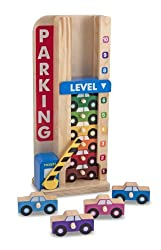 Wooden vehicle stacker Includes 10 toy cars, sliding counter, and wooden frame Clever drop-down counter encourages early math skills Compact design