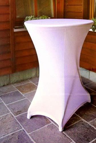Stehtischhusse Stehtischbezug Elegante Stretch Husse Tischüberzug Bistrotisch Tisch Hochzeit Geburtstag Feier (Weiß)