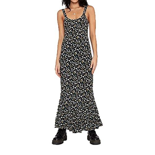 Alaurbeauty Vestido de verano largo para mujer, vestido de playa, maxivestido, sin mangas, con cuello en V, vestido de ocio, elegante C-negro. M