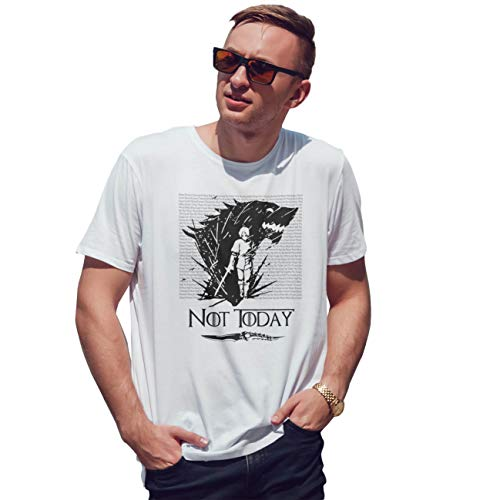 Lapi Boutique Arya Stark Song Typgraphy of Ice and Fire Not Today Camiseta de Hombre