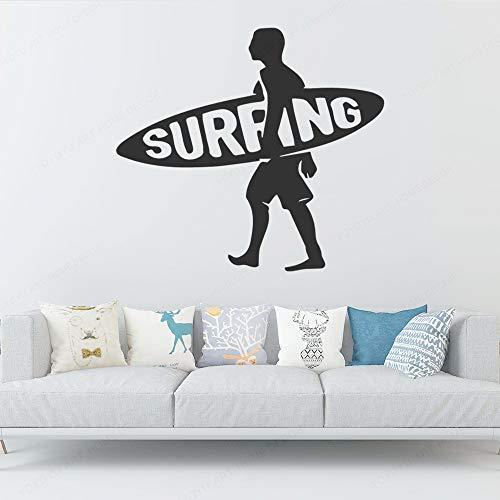 ganlanshu Männer Surfen Mobile Art Vinyl Wandaufkleber Kinderzimmer Jungen Schlafzimmer Dekoration Innendekoration Wandbild 82 cm X 75 cm