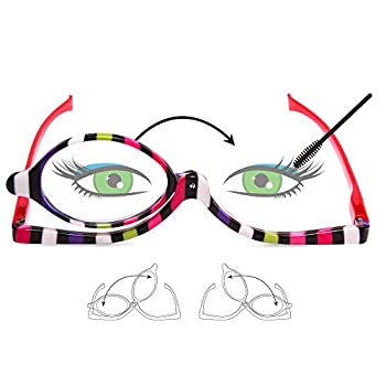 EYEGUARD Readers 2 Pack Magnifying Makeup Glasses Spectacles Flip Down Lens Folding Cosmetic Womens Reading Glasses +3.00