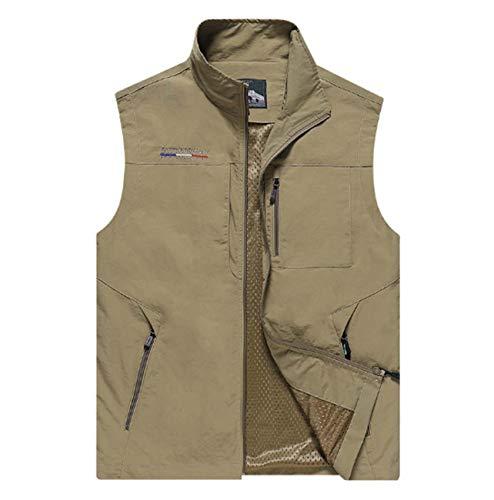 Mannen Multi-Pocket Vest Outdoor Sneldrogende Stand Kraag Gilets Lente en Herfst Mouwloos Jas Casual Waistcoat voor Vissen Jagen Wandelen Safari
