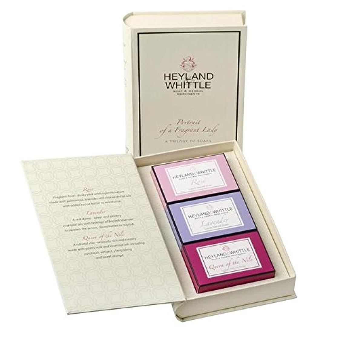 踊り子ドローゲーム&削る石鹸帳、香りの女性の肖像画 x4 - Heyland & Whittle Soap Book, Portrait of a Fragrant Lady (Pack of 4) [並行輸入品]