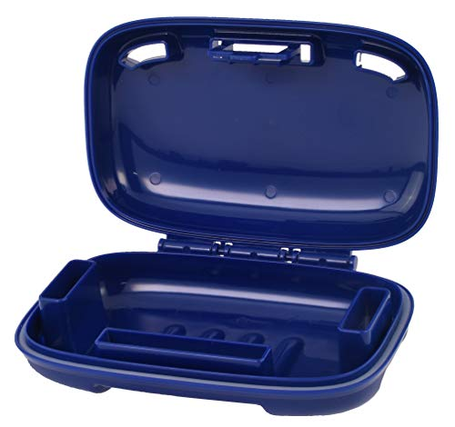 Carry-Dri Travel Soap Case by PORTINEER - Specially Designed Vents That Lets Bar Dry And Doesn't Leak - For Home School Gym Travel Hiking - Patented Design - Blue