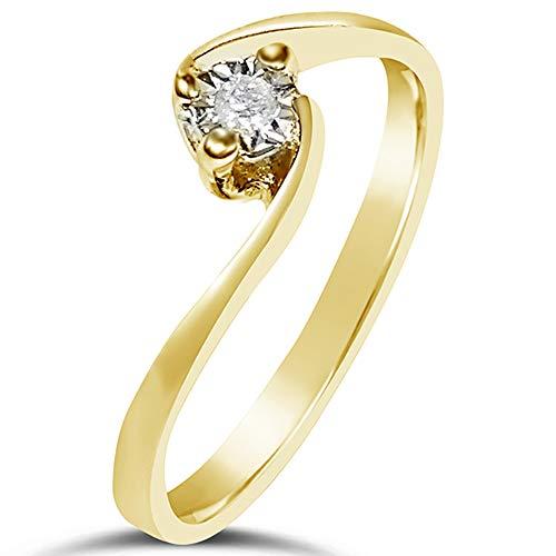 MILLE AMORI ∞ Anillo Mujer Compromiso Oro y Diamantes - Oro Amarillo 9 Kt 375 ∞ Diamantes 0.02 Kt