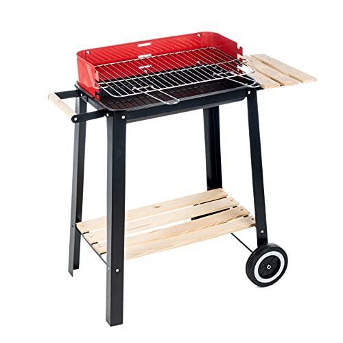 Enrico Coveri Barbecue Rettangolare A Carbone Multifunzione Con Struttura In Acciaio E 2 Ripiani In Legno Per Giardino, Terrazzo E Balcone (Montana)