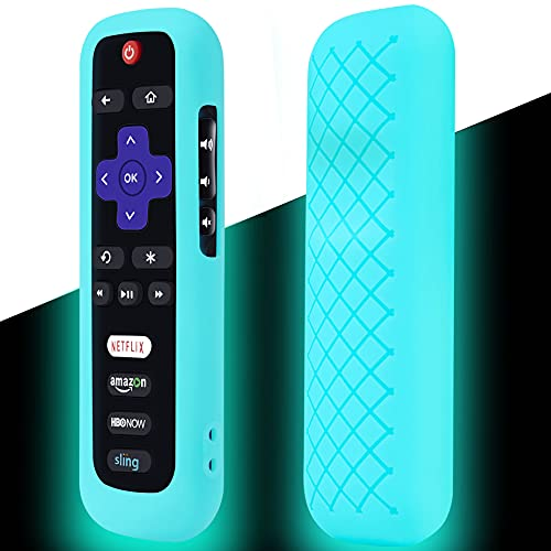 Remote Case for Roku, Battery Cover for TCL Roku Smart TV Steaming Stick Remote, Roku TV Remote Cover Silicone Protective Controller Universal Sleeve Skin Glow in The Dark Sky Blue