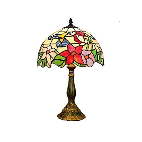 19in Tiffany Style Escritorio Lámpara, Luces Decorativas Retro Pastoral Americanas, Patrón Colibrí Lámparas De Vidrio Manchado Sombra, Lámpara De Noche De Base De Zinc Antigua Para Sala De Estar Dormi