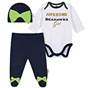 Bodysuit features expandable lap shoulder neckline and high-positioned bottom snaps for easy changes Pants feature gentle elastic waistband and bows on the feet Machine wash / tumble dry Cotton/poly interlock Great Baby Shower and Registry Gift Offic...