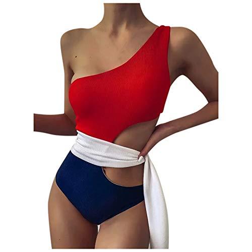 GaTIK Einfarbiger Einteiliger Damen Badeanzug Deep V Sexy Buckle Design Bikini Eine Schulter Push Up Hohlbadeanzug Krawatte Taille Design