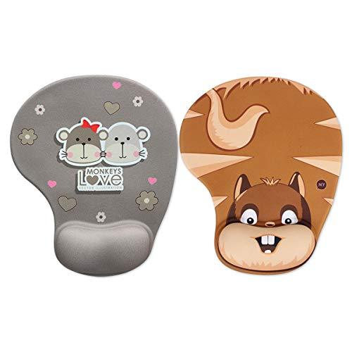 MARCELEN Tappetino Mouse con Poggiapolsi al Gel Nuovo Gaming Mouse Pad Ergonomico Base in Gomma Antiscivolo per PC Notebook e Laptop Tappetino Mouse 1 Scimmia + 1 Scoiattolo