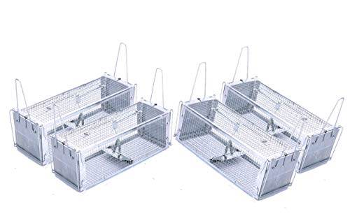 "AB Traps Pro-Quality Live Animal Humane Trap Catch and Release Rats Mouse Mice Rodents and Similar Sized Pests - Safe and Effective - 16"" x 5.5"" x 4.5"" Silver Extended Dual Door Trap 4-Pack"