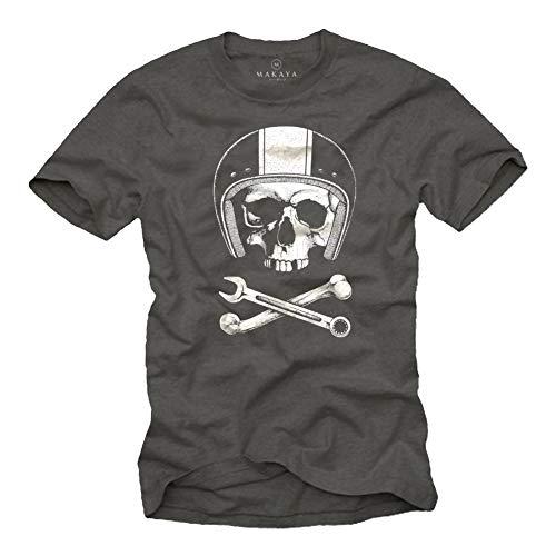 MAKAYA Calavera con Casco - Camiseta Motocross - Hombre Gris L