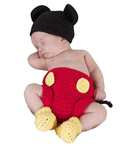 Jastore Photography Prop Baby Costume Cute Crochet Knitted Hat Cap Girl Boy Diaper Shoes Mouse Red