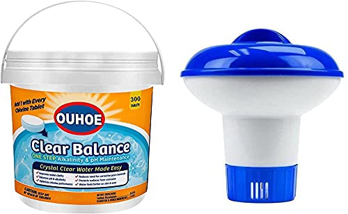 Tabletas de cloro para piscina, 300 unidades, con dispensador de flotador, 3 pulgadas de larga duración, apto para piscina de 5000 galones (G, como se muestra)