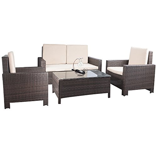 Devoko 4 Pieces Porch Patio Furniture Sets Clearance PE Rattan Wicker Garden Sofa Beige Cushion Chairs with Table Indoor Outdoor All Weather Deck Lawn Couch (Brown)