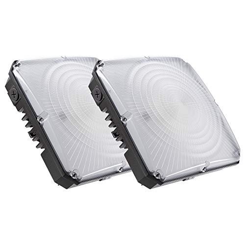 LEONLITE Dimmable LED Canopy Light Fixture,70W (400W Equivalent), 5700K Pure White 7750 Lumens, DLC Certified Ceiling Light, 10-Year Warranty, for Carport, Garage, Pack of 2