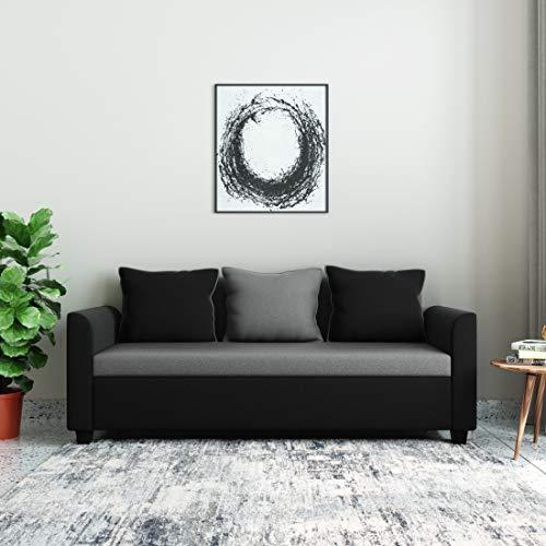 Amazon Brand - Solimo Nigella Fabric 3 Seater Sofa (Grey & Black)