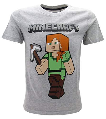Minecraft Global Brands Group Camiseta T-Shirt Gris Alex con Piqueta Martillo del...