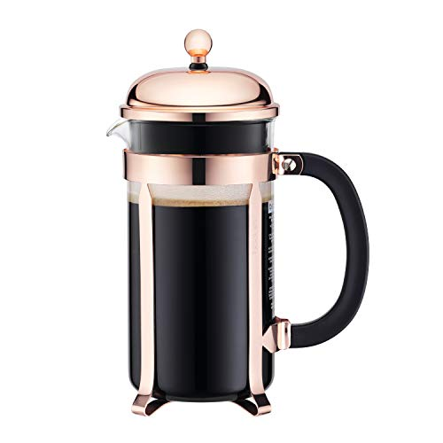 Bodum CHAMBORD Coffee Maker (French-Press System, Stainless Steel Frame, 1.0 L/34 oz, 8 Cup) - Copper