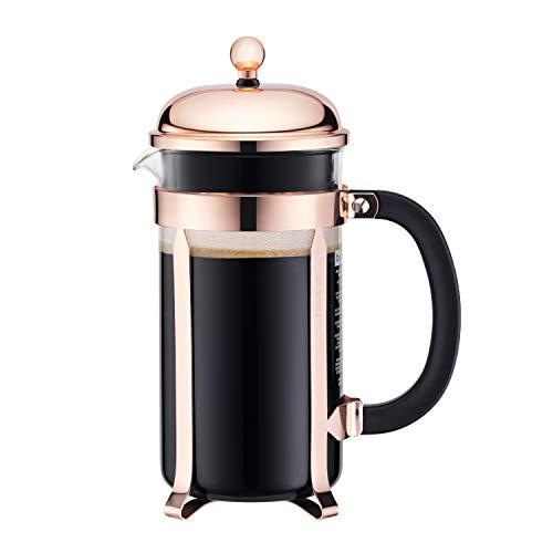 Bodum Chambord Copper French Press Coffee Maker, Glass, 34 Ounce, 1 Liter, Copper