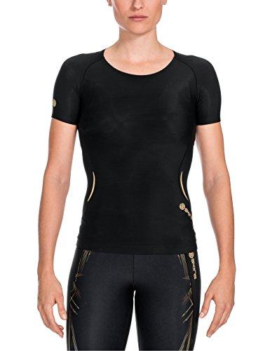 SKINS A400 - Camiseta de Manga Corta para Mujer (Talla S), Color Negro y Dorado