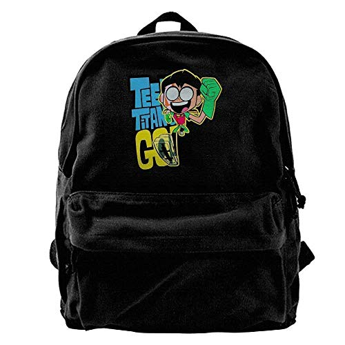 HOJJP Backpack Canvas Backpacks Teen Titans Go Robin Canvas Backpack Travel Rucksack Backpack ypack Knapsack Laptop Shoulder Bag