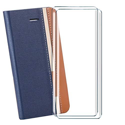 HYMY Denim Hülle für LG K42 Hülle + 2PC Schutzfolie Panzerglas Folie - Lederhülle Flip Schutzhülle Card Slot Handyhülle Bookstyle Flip Cover Hülle - Blue