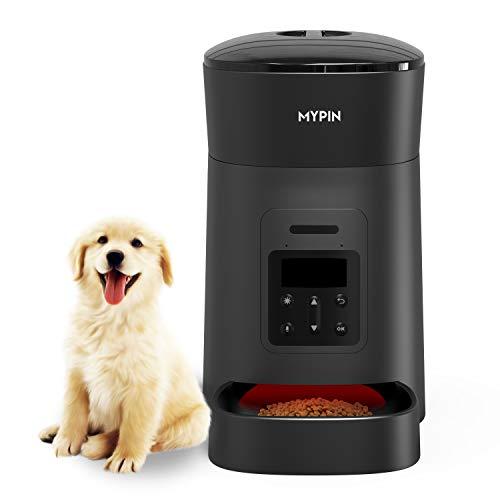 MYPIN Smart Automatischer Futterautomat für Katze & Hund, 4L Futterspender Pet Feeder mit Timer programmierbar, Portionskontrolle bis zu 6 Mahlzeiten/Tag, Sprachaufzeichnung, Alarm bei Essen,Schwarz