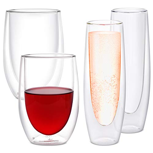 Eparé Bundle: 5oz Set of 2 Champagne Flutes & 13oz Set of 2 Stemless Drinking Wine Glasses -...
