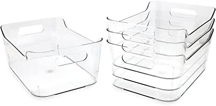 "Isaac Jacobs 4-Pack Small Clear Storage Bins (9.4"" x 6.7"" x 4.1"") w/Handles, Plastic Box Set, Home, Office, Fridge, Freeze..."