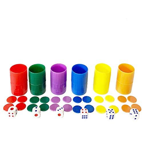 Set de 6 cubiletes con fichas y Dados del parchís